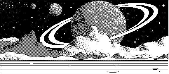 macpaint drawing of Saturnscape